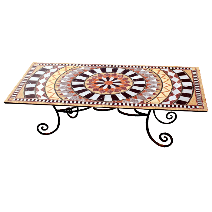 Table mosa que de marbre sur pied florence - Pied de table transparent ...