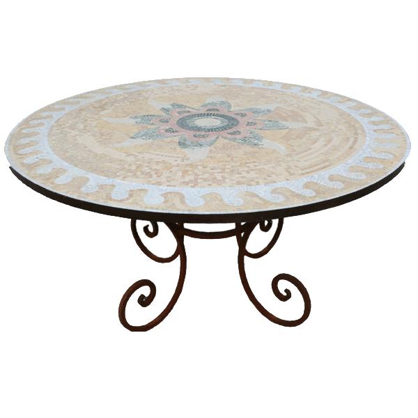 Table mosa que de marbre sur pied fou du roi - Pied de table transparent ...