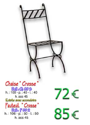 Chaise Crosse en fer forgé